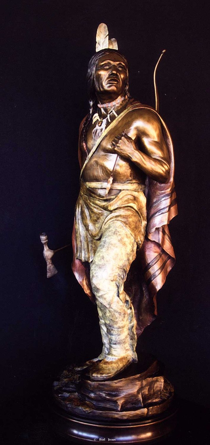 """Broken Arrow"" <br> 32"" Tall - Edition of 50 ""Broken Arrow""   Indian Warrior  Indian Bronze"