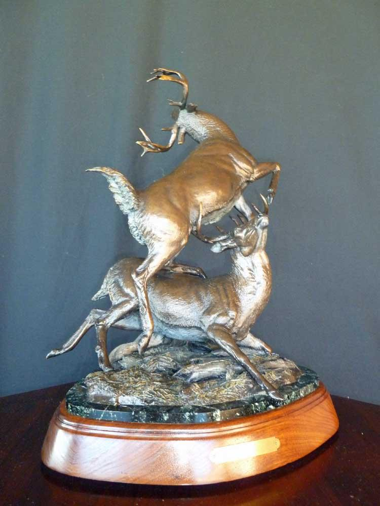 """Autumn Ritual"" - Whitetail Bucks Fighting <br> 22"" Tall  x  22"" Wide ""Autumn Ritual"" -  Biggame  Wildlife"