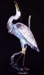 """""""Blue Heron Fishing""""<br>Life Size - Edition of 50 """"Blue Heron Fishing"""" - Birds  Bronze Sculpture of Birds and Fish"""