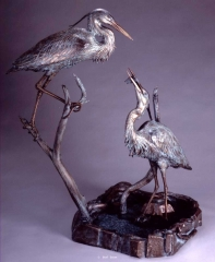 """Blue Heron Fountain"" <br>50"" H x 38"" w x 26"" D ""Blue Heron Fountain"" - Birds  Bronze Sculpture of Birds and Fish"