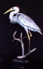 """""""Blue Heron Resting""""<br>Life Size - Edition of 40 """"Blue Heron Resting"""" - Birds  Bronze Sculpture of Birds and Fish"""