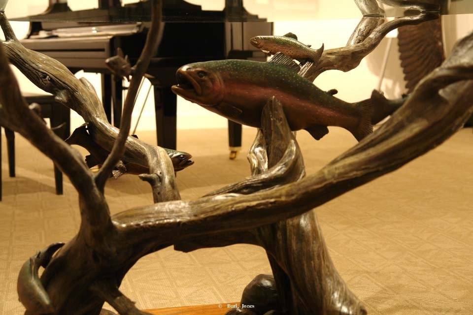 Bronze Trout Table <br>24 inches high by 42.5 inches wide by 42.5 inches long <br>(Without glass top) Bronze Trout Table   Trout Table  Sculpture by Burl Jones