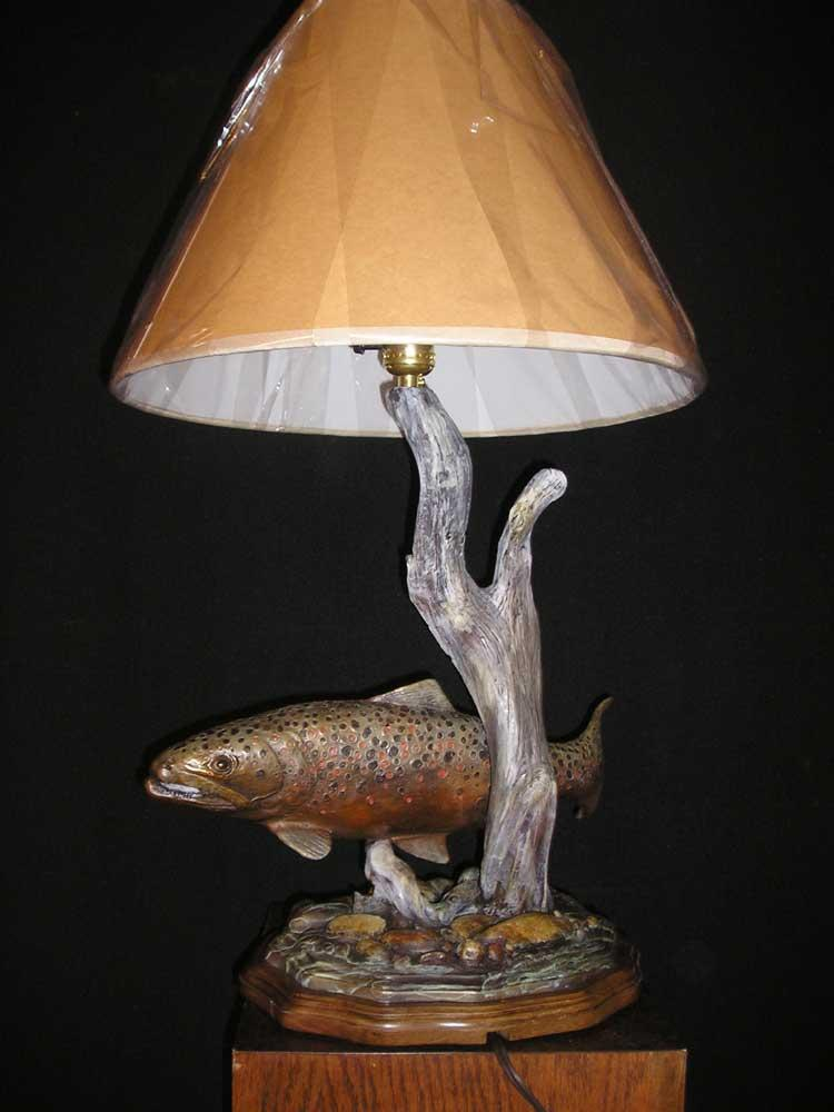 """Brown Trout Lamp"" <br>Edition 50  -  Trout is 16"" Long ""Brown Trout Lamp"" - Lamp  Tables and Lamp Sculpture   Bookend Sculpture"