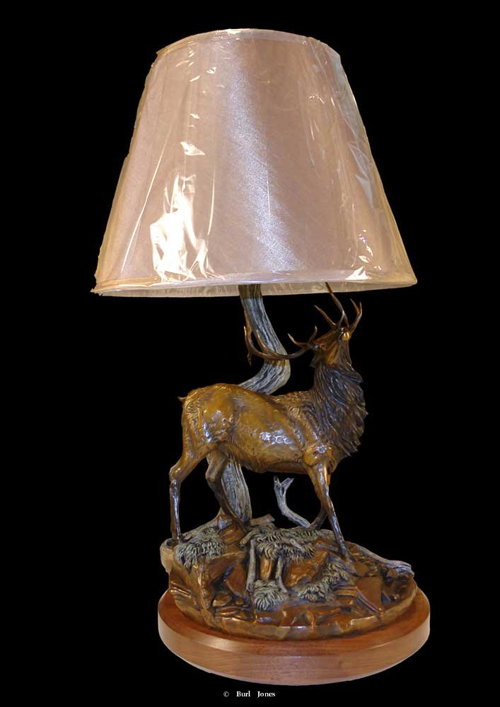 """Bull Elk Lamp""<br> 27.5""H x 13 ""W x 12""L ""Bull Elk Lamp"" - Lamp  Tables and Lamp Sculpture   Bookend Sculpture"