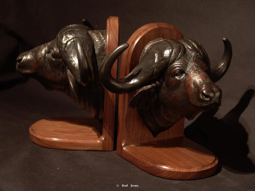 """Cape Buffalo"" Bookends<br>10""H  x 12""W ""Cape Buffalo"" - Bookends  Tables and Lamp Sculpture   Bookend Sculpture"