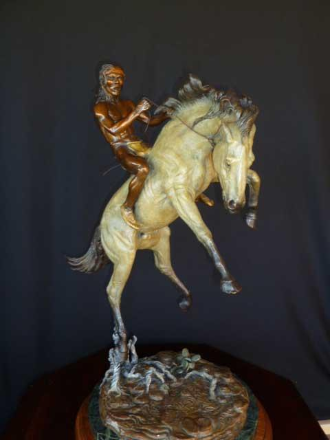"""Change of Pace""  <br>  Horse & Native American Rider <br> 27""T  x  16""L - Edition of 30   ""Change of Pace"" - Figurative Sculpture  People Sculpture"