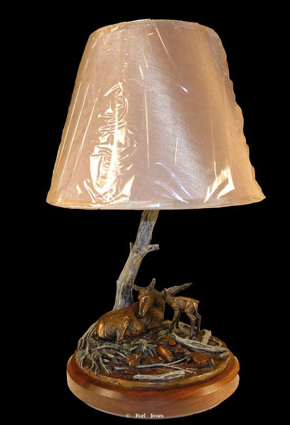 """Cow and Calf Elk Lamp""<br> 24.5""H x 12""W x 12.5""L ""Cow and Calf Elk Lamp"" - Lamp  Tables and Lamp Sculpture   Bookend Sculpture"