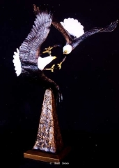 """Eagle Flight""<br>17"" x 11"" - Edition of 50 ""Eagle Flight"" - Birds  Bronze Sculpture of Birds and Fish"
