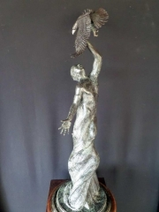 """""""Earth Bound""""<br>35"""" Tall Limited Edition of 30 """"Earth Bound"""" - Birds  Bronze Sculpture of Birds and Fish"""