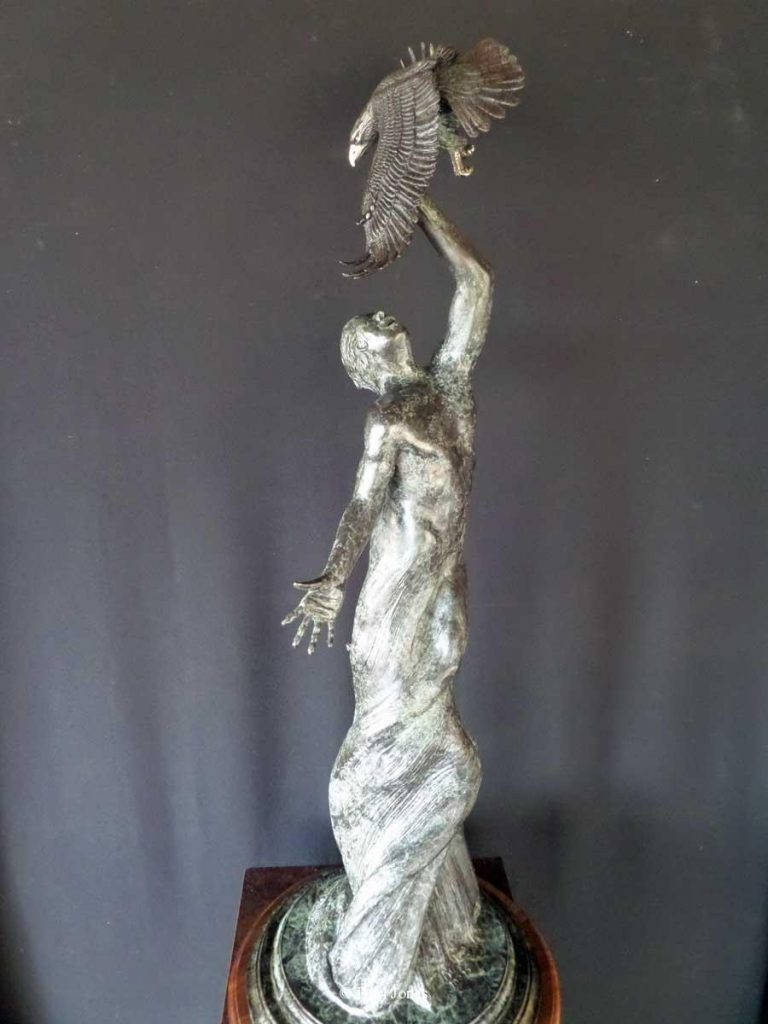 """Earth Bound""<br>35"" Tall Limited Edition of 30 ""Earth Bound"" - Birds  Bronze Sculpture of Birds and Fish"