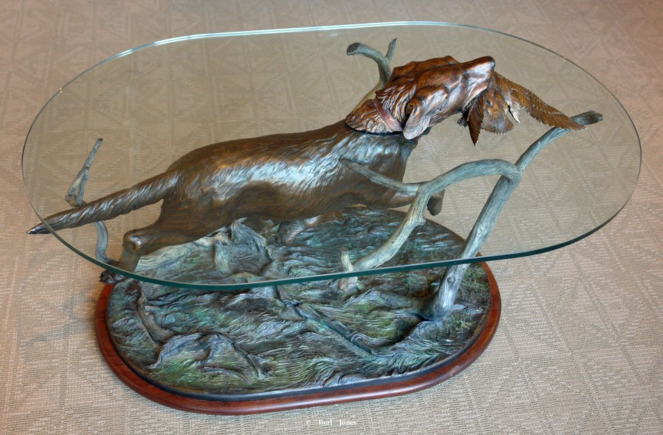 """First Retrieve""  Coffee Table Sculpture by Burl Jones<br> The base is 40"" long x 24"" wide x 21-1/2"" tall.  <br>The heavy glass is 45"" long x 3/8"" thick x 28"" tall. ""First Retrieve"" - Table  Tables and Lamp Sculpture   Bookend Sculpture"