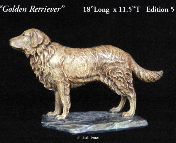 """Golden Retriever"" <br> 18:L x 11.5"" T - Edition of 5 ""Golden Retriever"" -  Biggame  Wildlife"