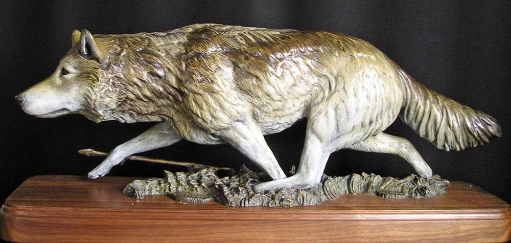 """Hunters ""<br> 27"" Long  x  11"" Tall  <br>Limited   Edition 30 ""Hunters""  Wolf sculpture  Native American hunter"