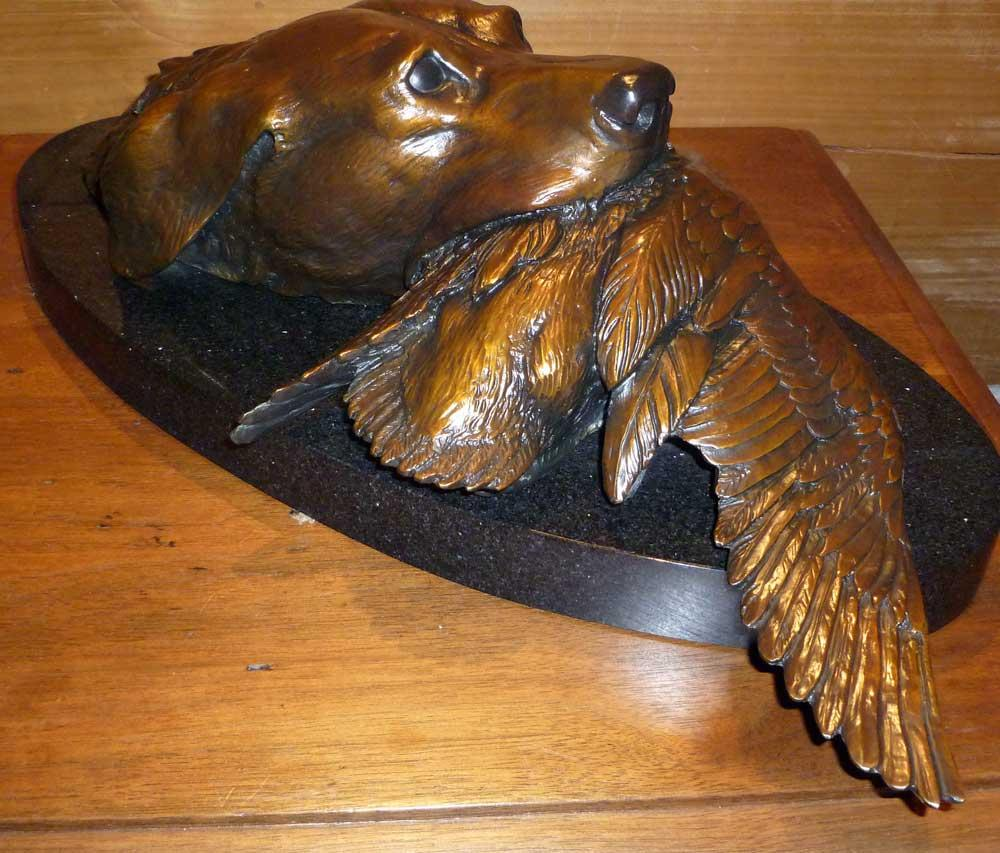 """Life size Lab Head and Duck.<br> Limited Edition Bronze 18"""" x  9""""   Lab Head and Duck.  Labrador Retriever  Dog Sculpture"""