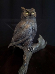 """""""Night Owl""""  (3/4 Life Size)  Limited Edition 20 """"Night Owl"""" - Birds  Bronze Sculpture of Birds and Fish"""