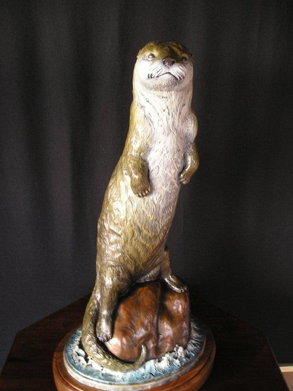 """River Otter"" <br>Size  26"" tall   14"" X 11""  Base ""River Otter"""
