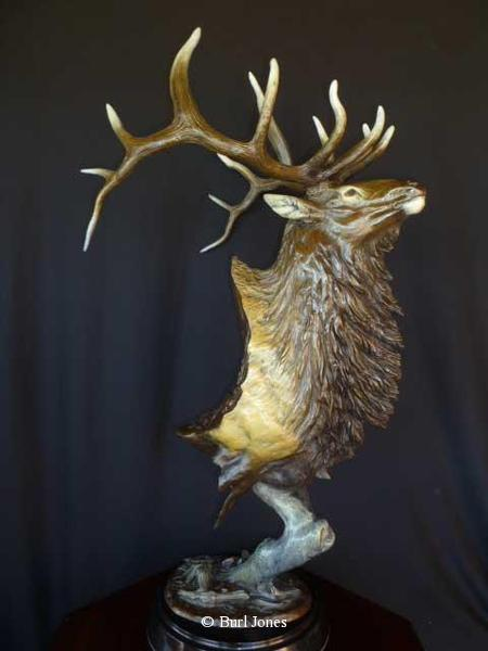 """Royal Flush"" -  Elk <br> 38"" Tall x 12"" Wide at the base ""Royal Flush"" -  Biggame  Wildlife"