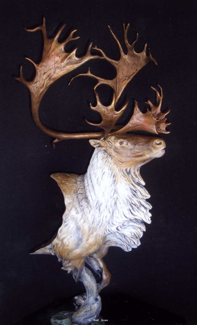 """Royal Flush Caribou""<br>38"" x 15"" - Edition of 30 ""Royal Flush Caribou"" -  Biggame  Wildlife"