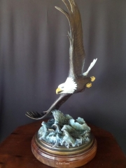 """""""Surfing""""  American Bald Eagle <br> L/E 20 - 31"""" Wing Span """"Surfing"""" - Birds  Bronze Sculpture of Birds and Fish"""