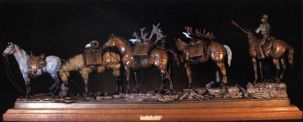 """Too Much Trouble""<br>44""L x 16""T - Edition of 30 ""Too Much Trouble""  Too Much Trouble  Pack train bronze sculpture"
