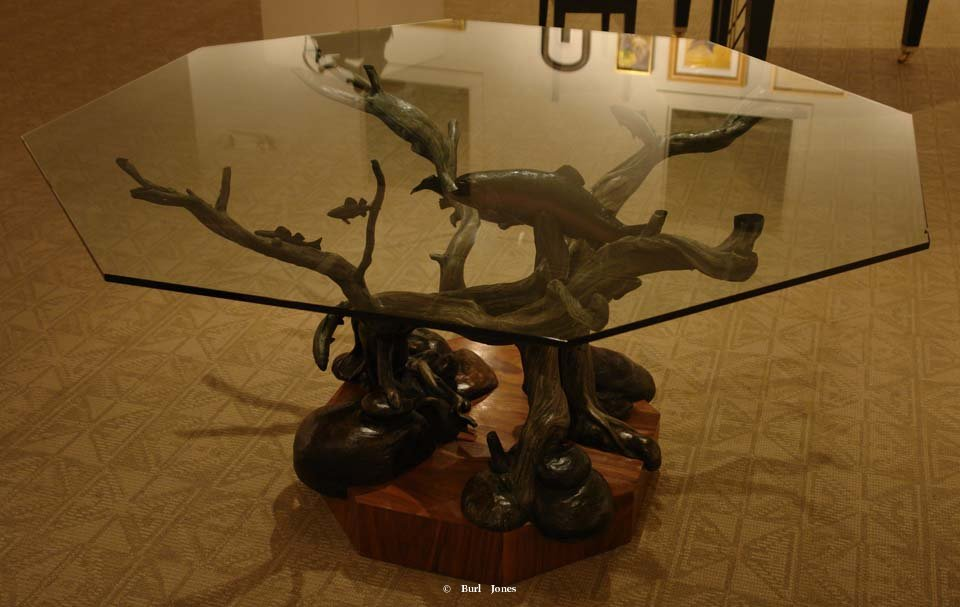 "Bronze Trout Table  <br>24"" H x 42.5"" W x 42.5"" L  (Without glass top) ""Trout Table"" - Table  Tables and Lamp Sculpture   Bookend Sculpture"