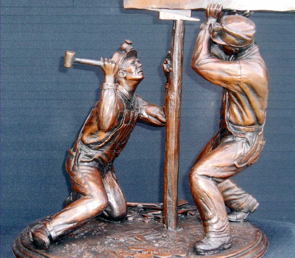 """When Coal was King"" <br>14"" T x 12"" W - Edition of 50 ""When Coal was King"" - Figurative Sculpture  People Sculpture"