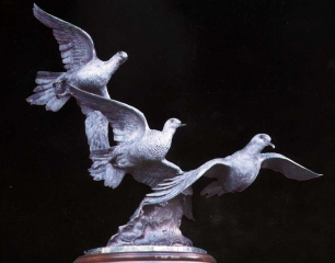 """""""Wings Of Peace""""<br>20"""" Tall _ Edition of 30 """"Wings Of Peace"""" - Birds  Bronze Sculpture of Birds and Fish"""