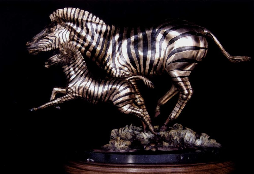"""Zebra Mare Foal""<br>14"" x 20"" - Edition of 25 ""Zebra Mare Foal"" -  Biggame  Wildlife"