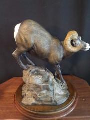 """Ridge Runner"" - Big Horn Ram 20"" L 15"" T 8"" W Edition 20 Bronze Sculpture by Burl Jones - Right Side"
