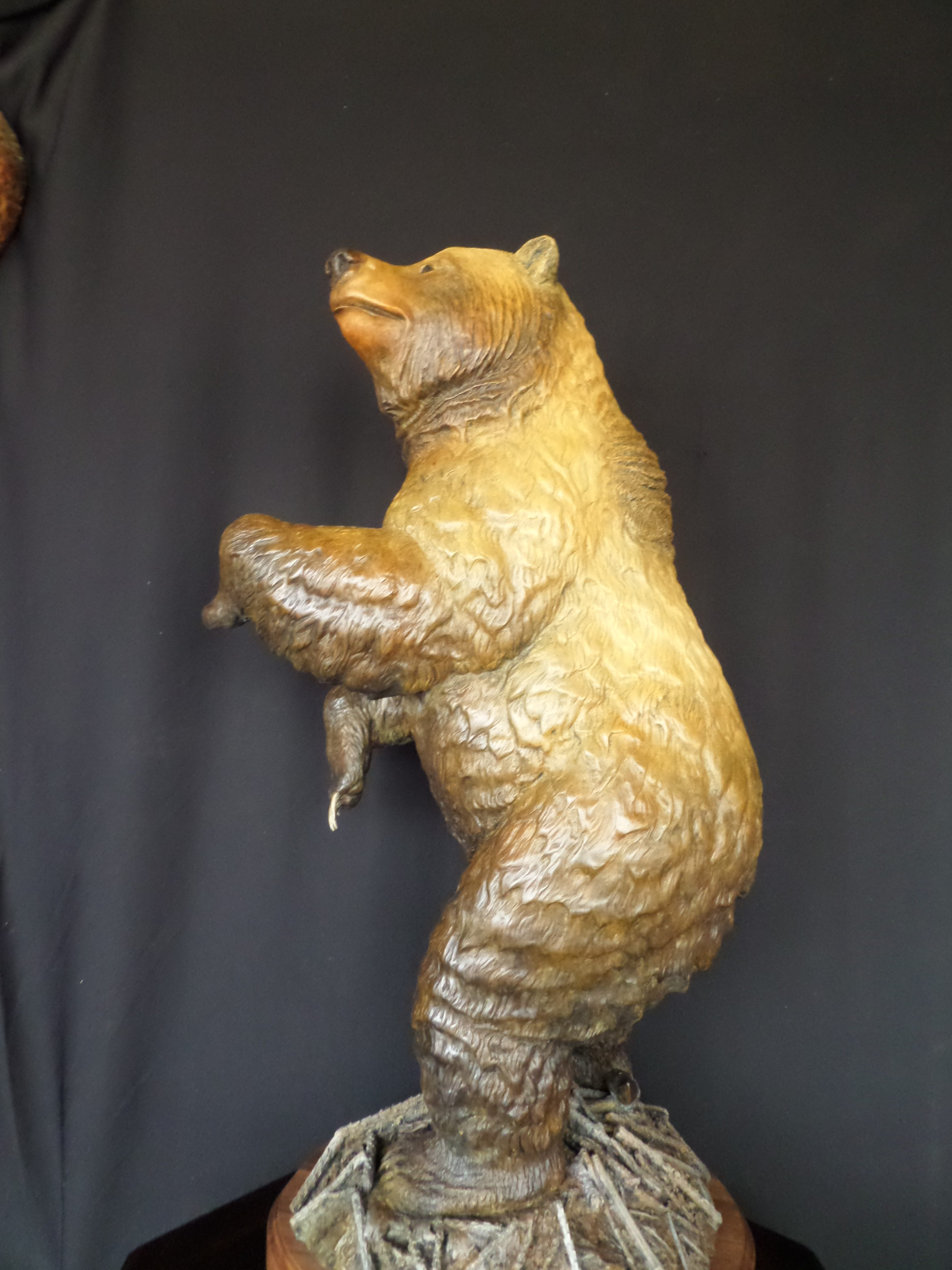 """Hide and Seek"" Grizzly Bear Sculpture 35"" tall 19"" Long 15"" wide Burl Jones Sculpture"