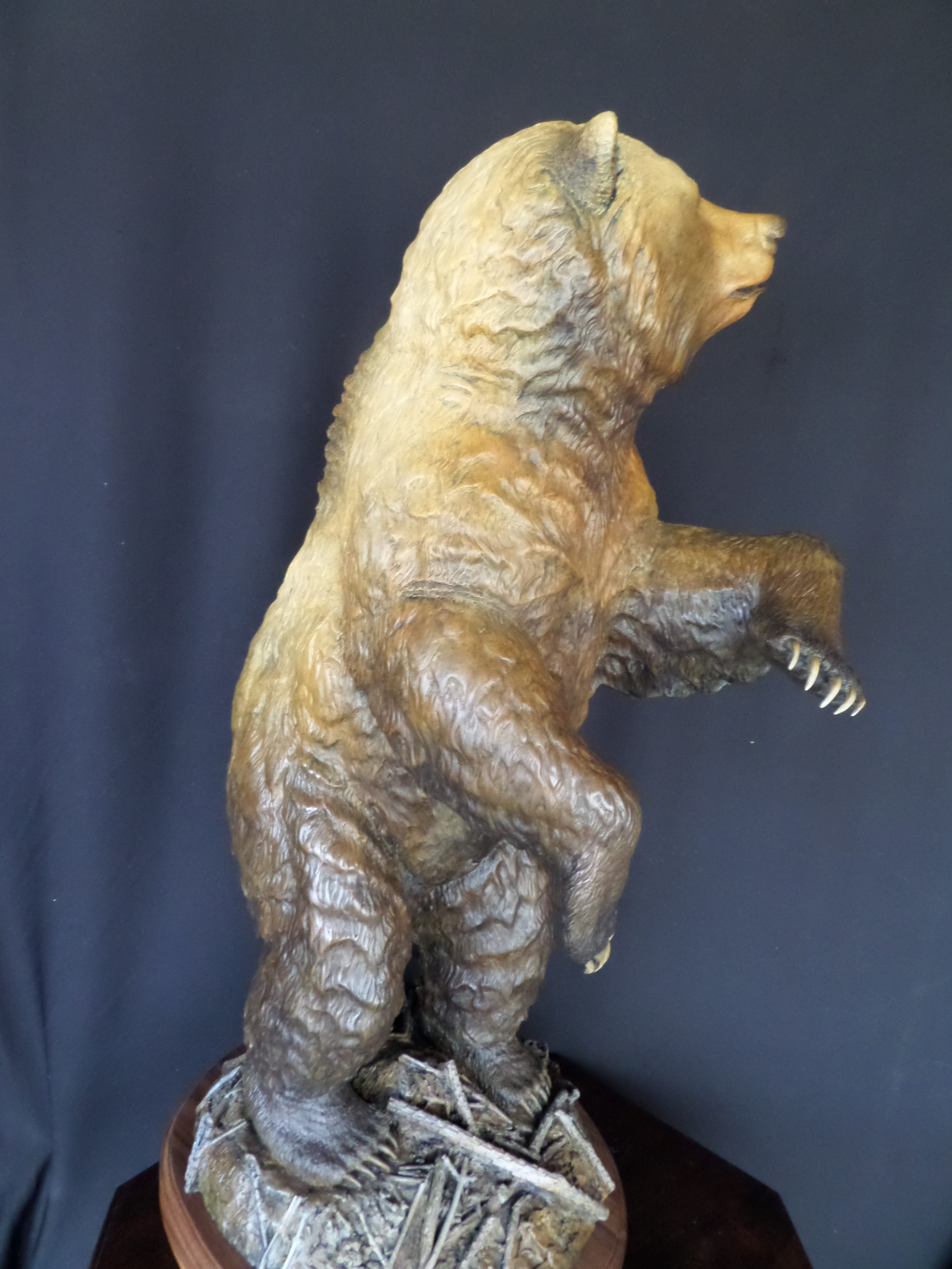"""Hide and Seek"" Grizzly Bear 35"" tall 19"" Long 15"" wide Burl Jones Sculpture"