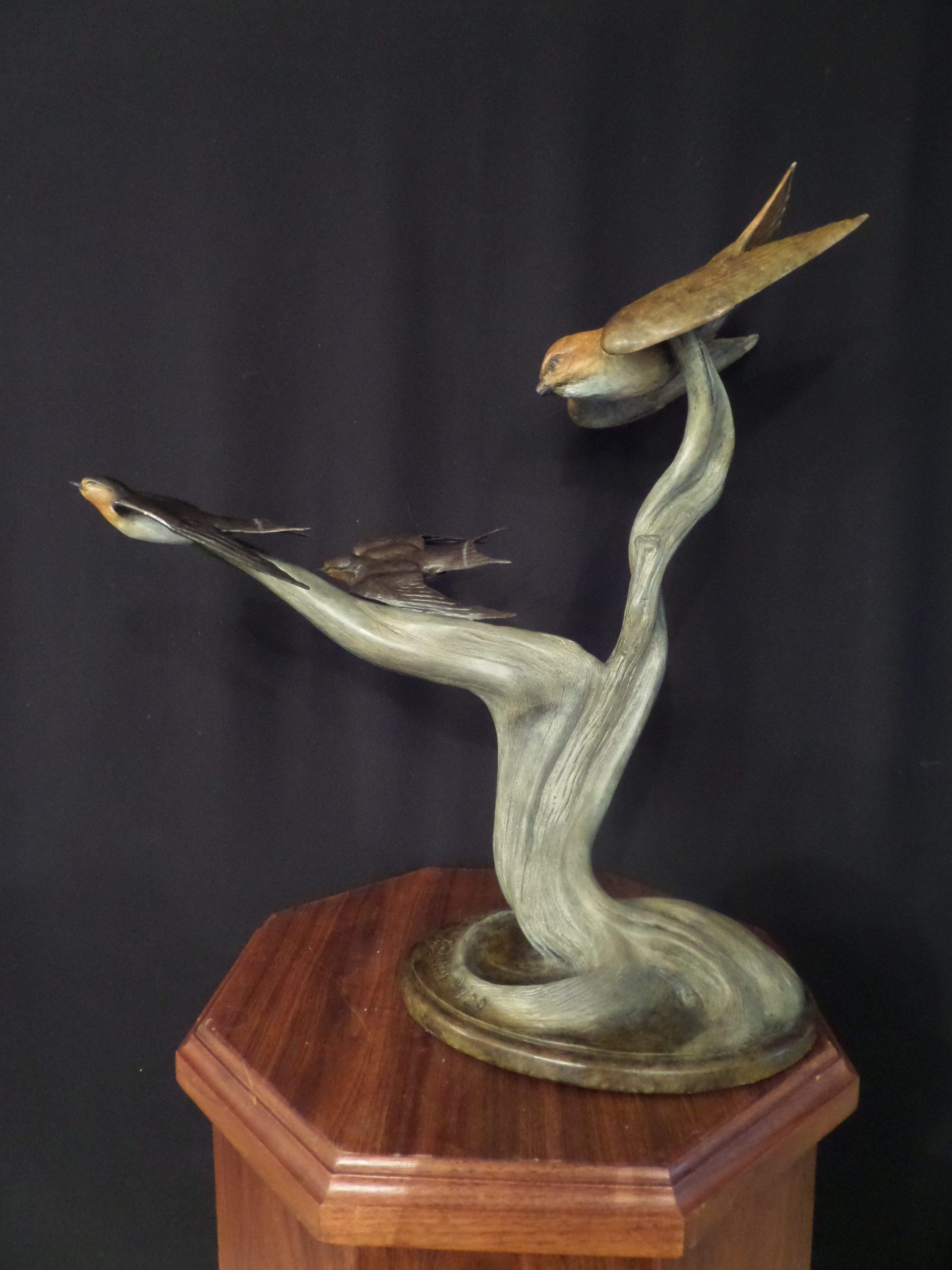 """Barnyard Ballet"" - Kestral and Swallows by Burl Jones Limited Edition 20 - 21"" Long x 21"" Tall"