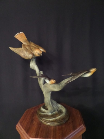 """Barnyard Ballet"" - Kestral and Swallows by Burl Jones Limited Edition 20 - 21"" Long x 21"" Tall"